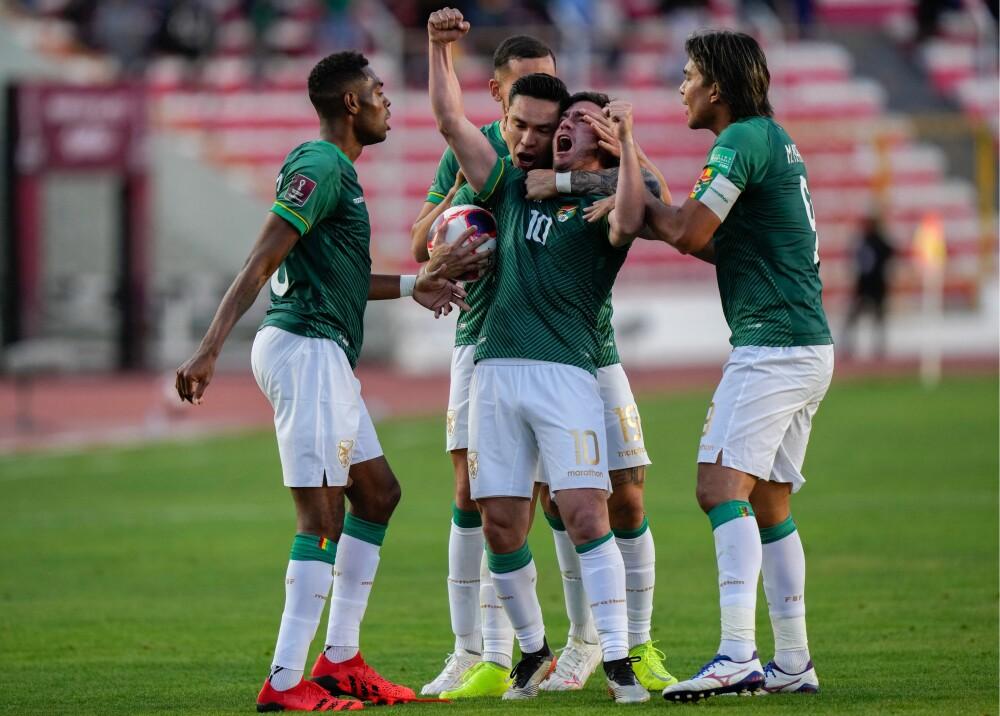 Jugadores de Bolivia celebrando el empate Foto AFP (1).jpg