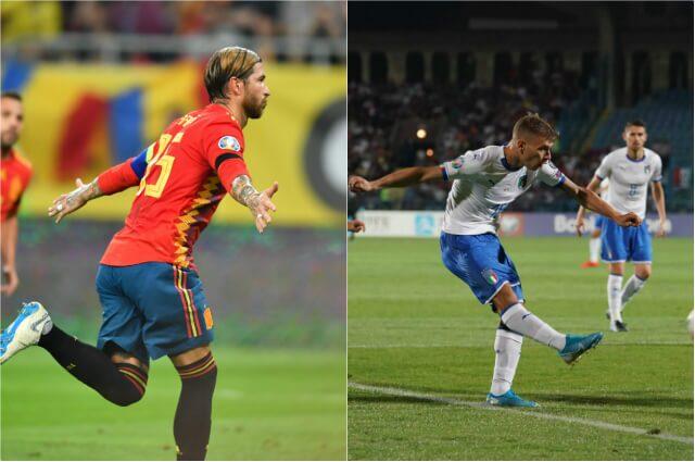 320293_España e Italia en sus respectivos encuentros.