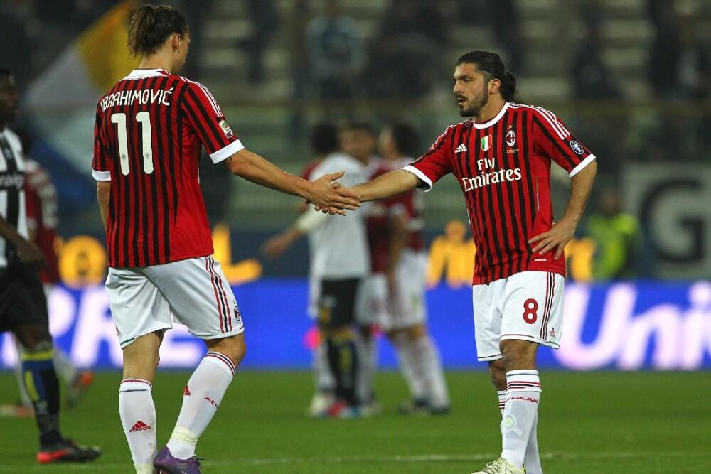 Zlatan Ibrahimovic y Gennaro Gattuso