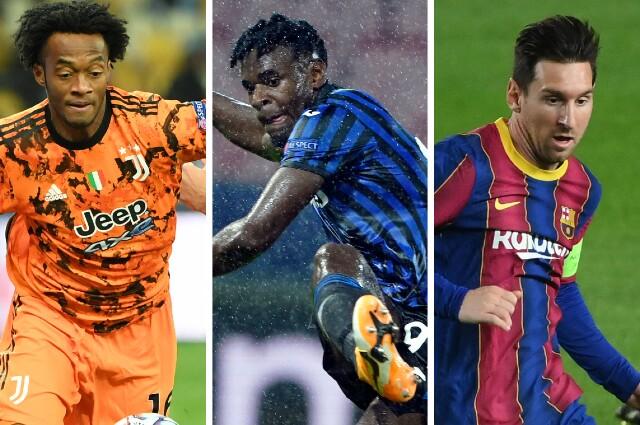 Juan Guillermo Cuadrado, Duván Zapata y Lionel Messi