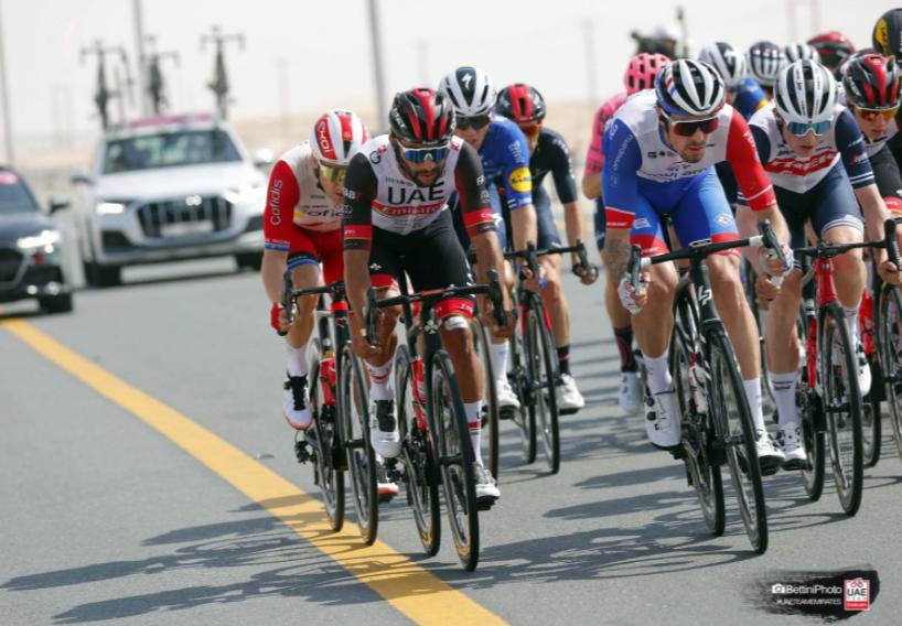 Fernando Gaviria en la etapa 1 del UAE Tour. Cortesía: Bettini Photo