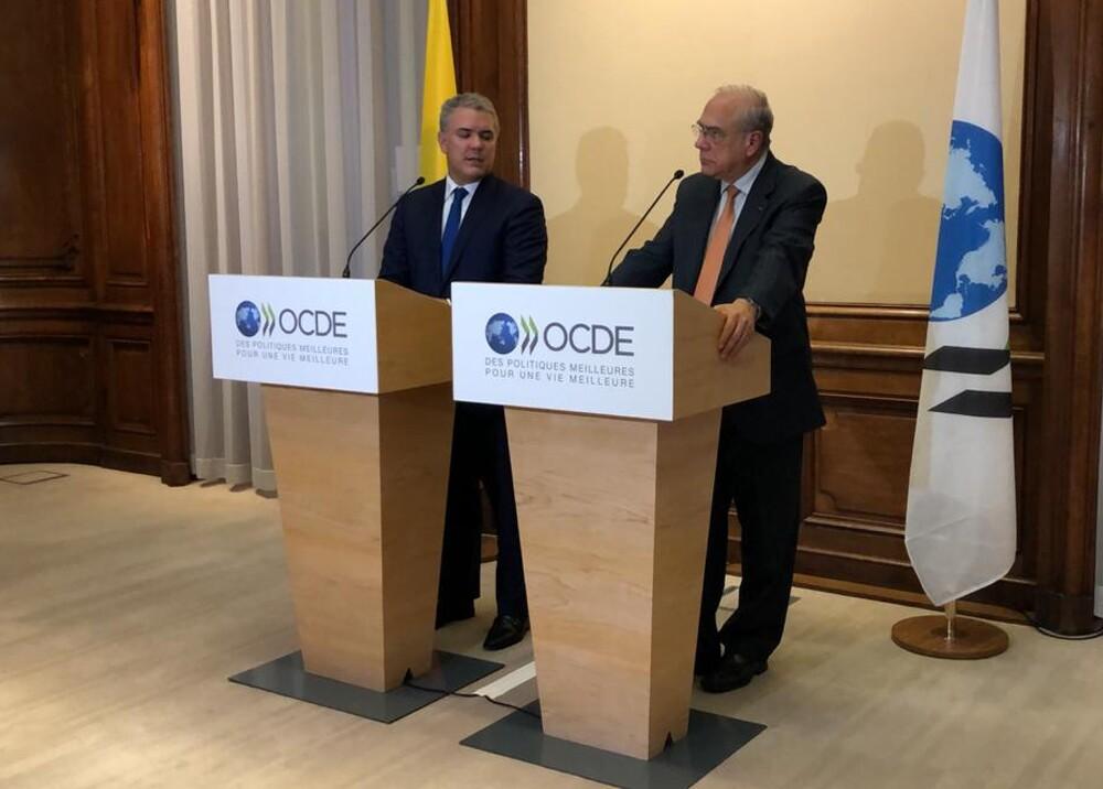Iván Duque y José Ángel Gurría, secretario General de la OCDE