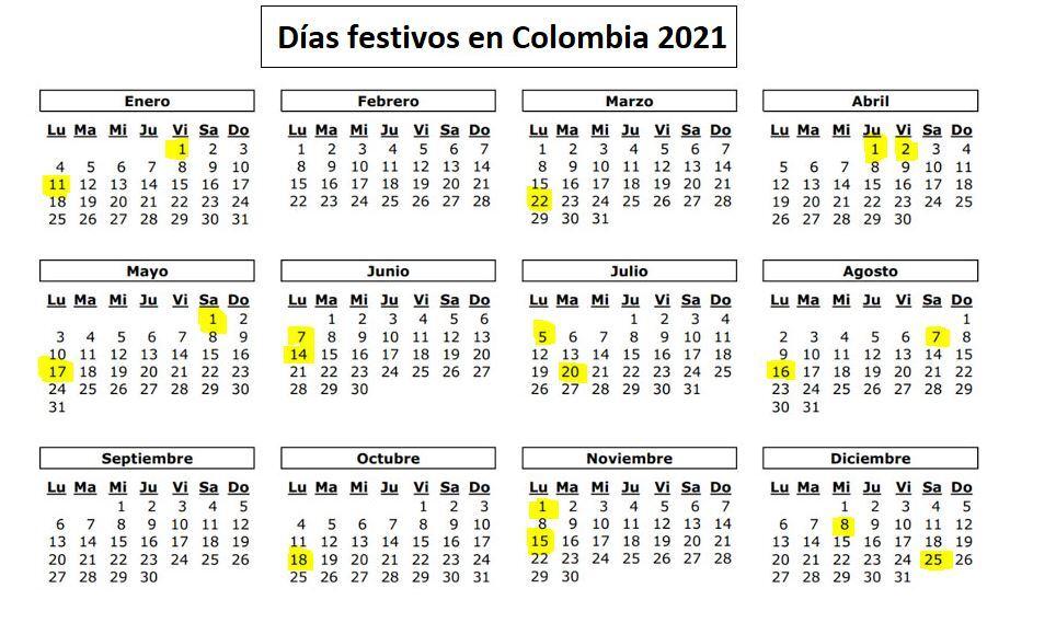 Festivos 2021 Colombia
