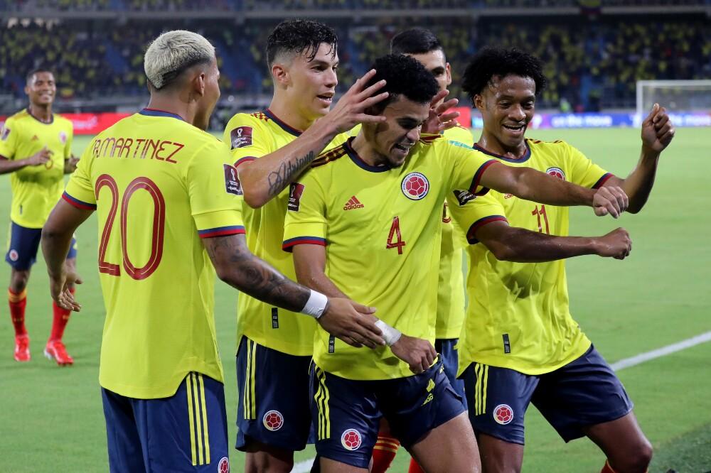 Celebración de la Selección Colombia, tras su gol