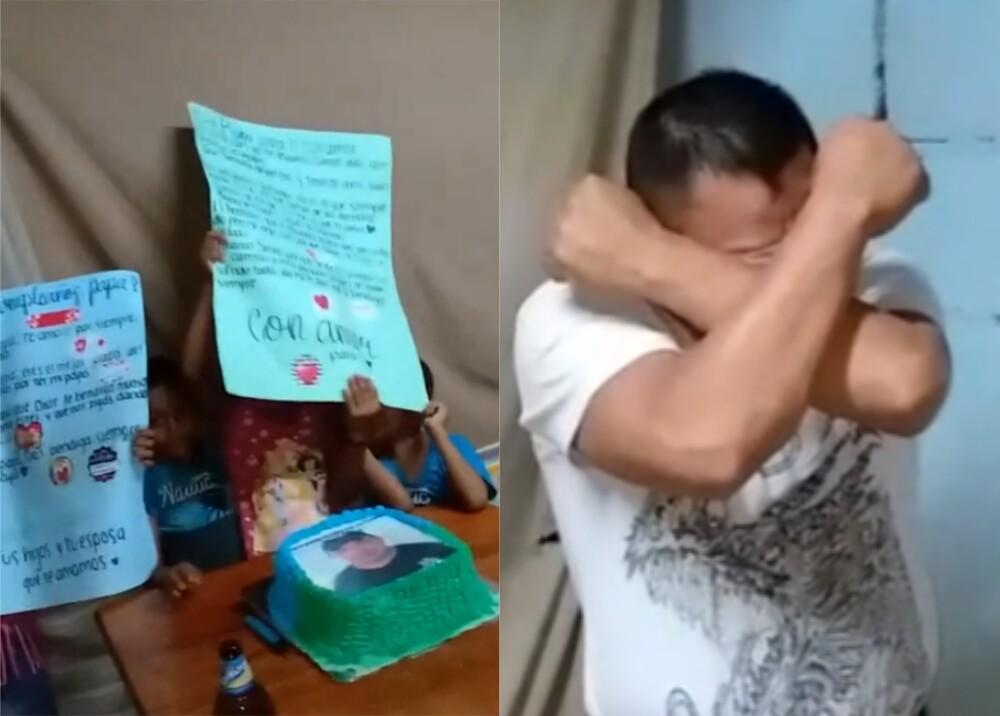 Hombre recibe una torta de cumpleaños por primera vez Foto captura de video.jpg
