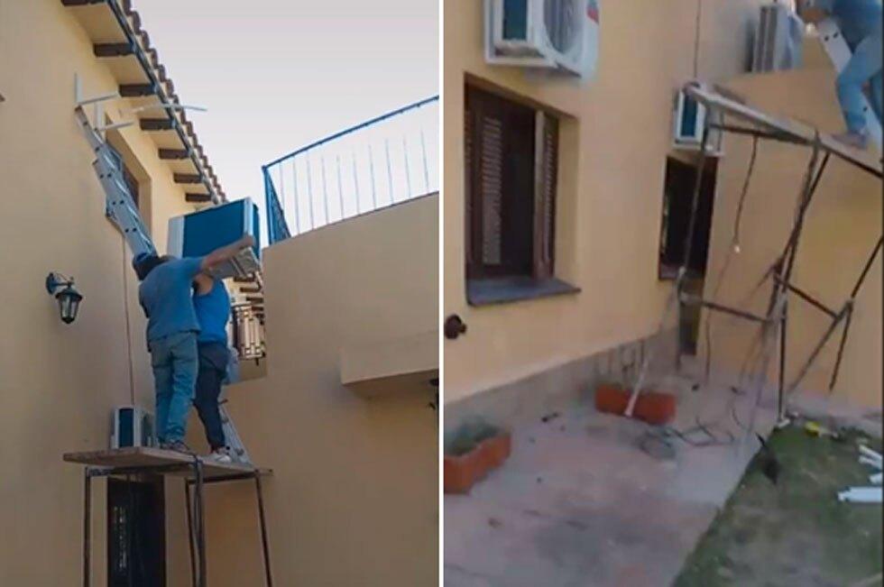 Obreros caen de andamio intentado instalar aire acondicionado