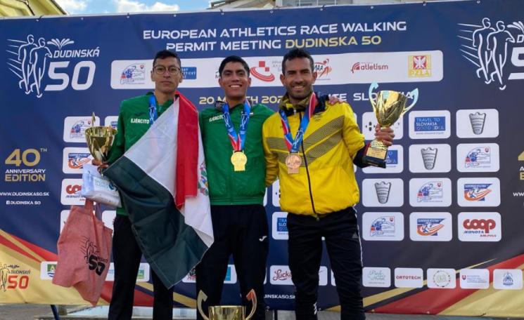 Éider Arévalo se colgó la medalla de bronce en la Reunión Internacional de Marcha Atlética Dudinska50.