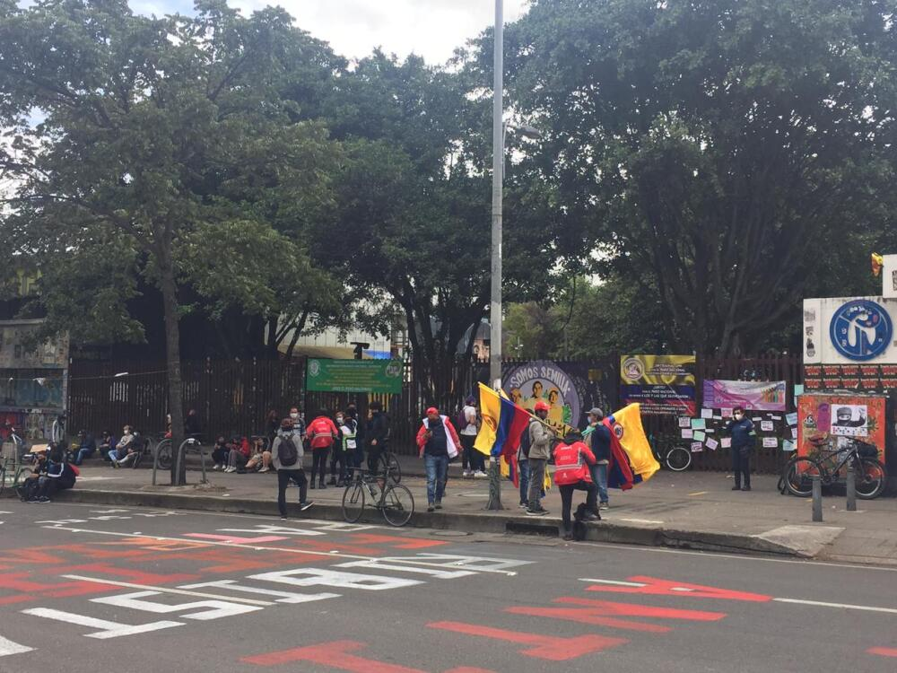 Manifestantes en la Universidad Pedagógica