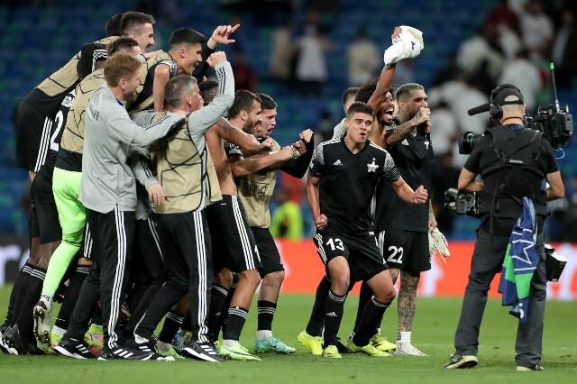 Celebración del Sheriff Tiraspol, tras victoria sobre Real Madrid