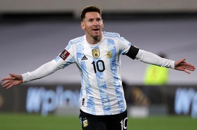 Celebración de Lionel Messi, tras su gol contra Bolivia