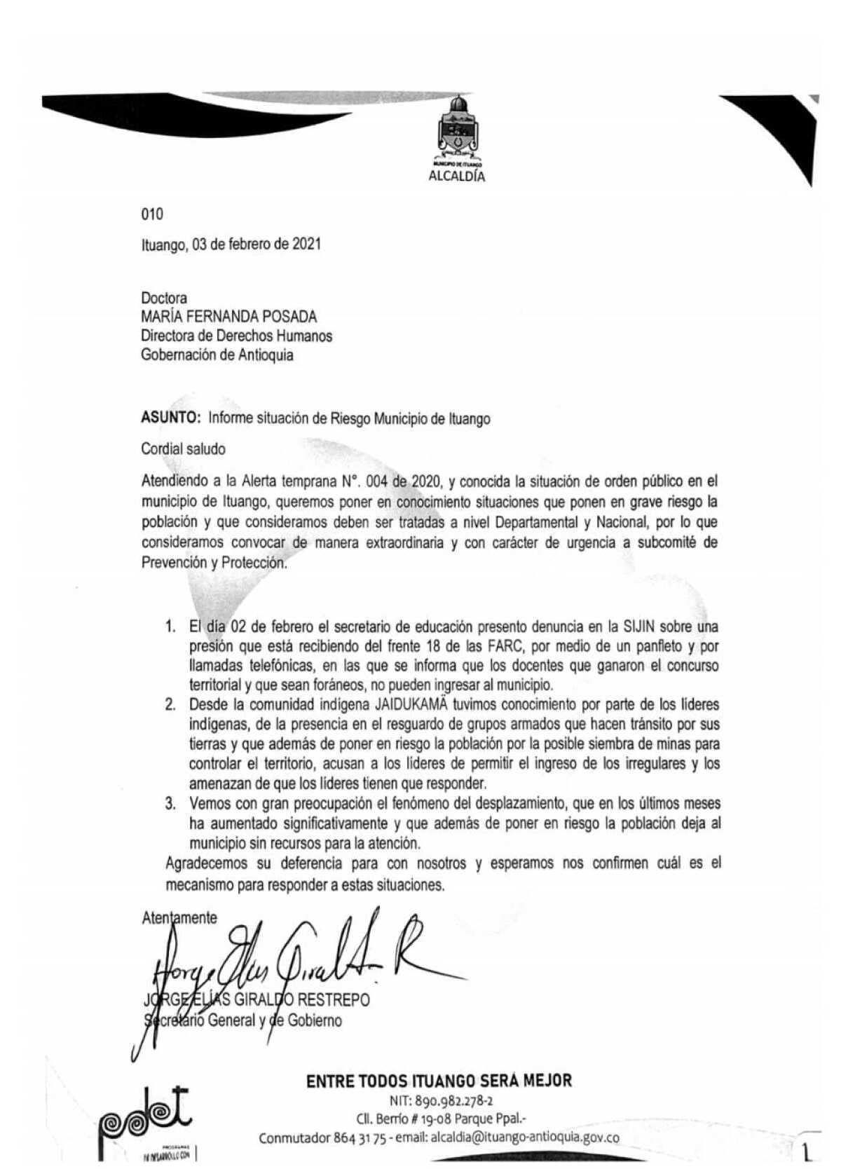 Carta de alcaldía de Ituango, Antioquia