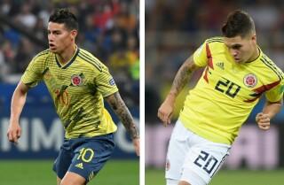 James Rodríguez y Juan Fernando Quintero, futbolistas colombianos