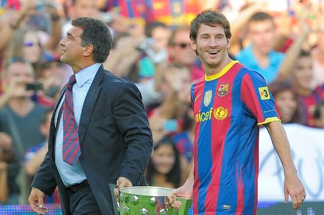 Joan Laporta y Lionel Messi