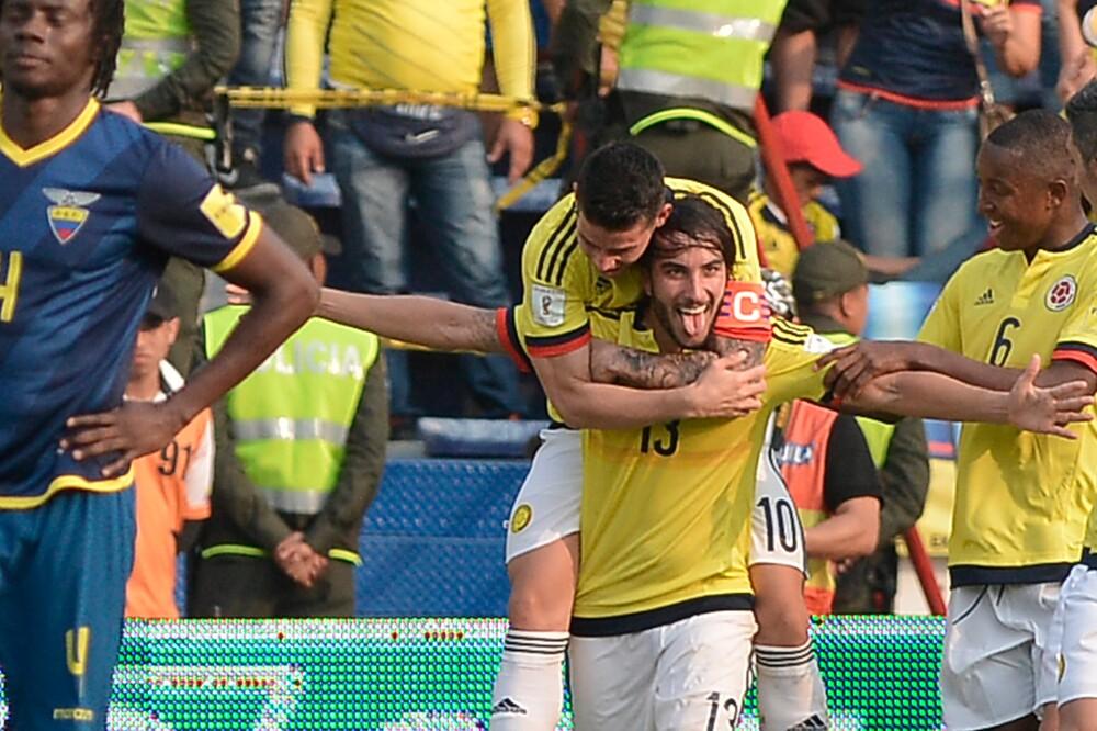 Celebración de Sebastián Pérez, tras su gol contra Ecuador, en 2016