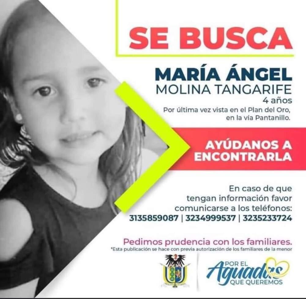 Niña de 4 años está desaparecida en límites de Antioquia y Caldas tras ser raptada por un hombre