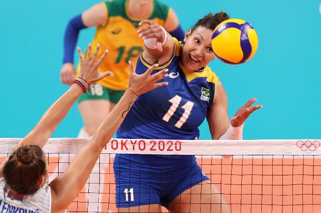 Tandara Caixeta, en voleibol de los Juegos Olímpicos de Tokio