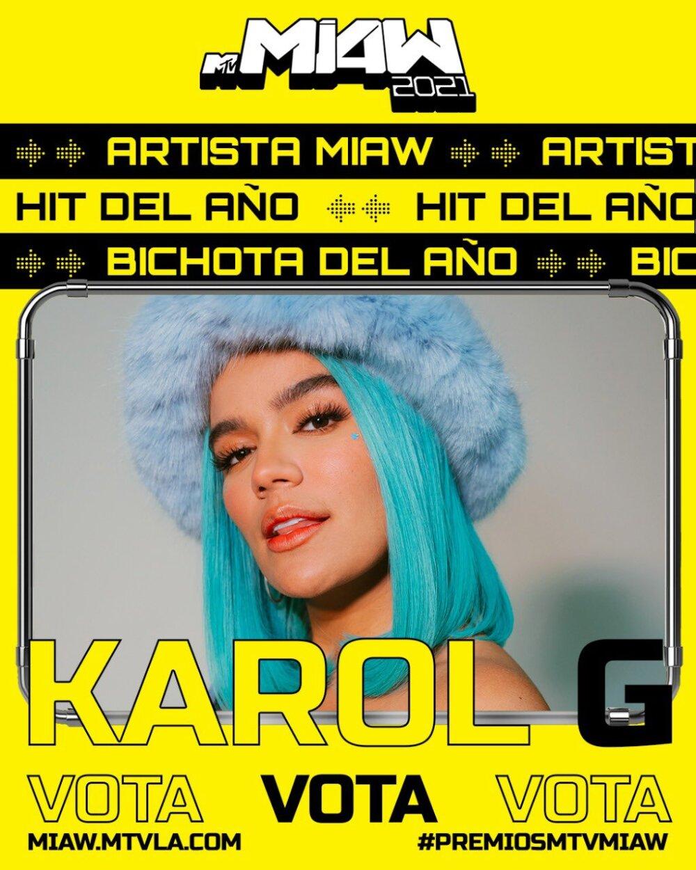 Premios MTV MIAW 2021: Karol G y Danna Paola se destacan entre los nominados
