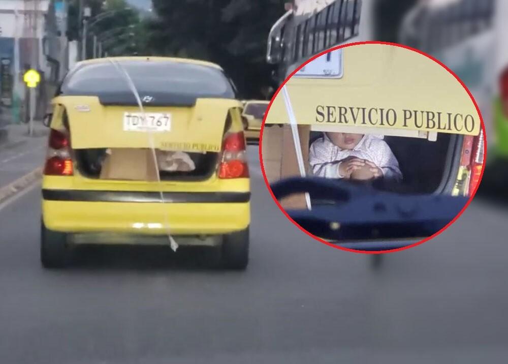 taxista que llevaba un bebé en el baul del carro por medellin.jpg