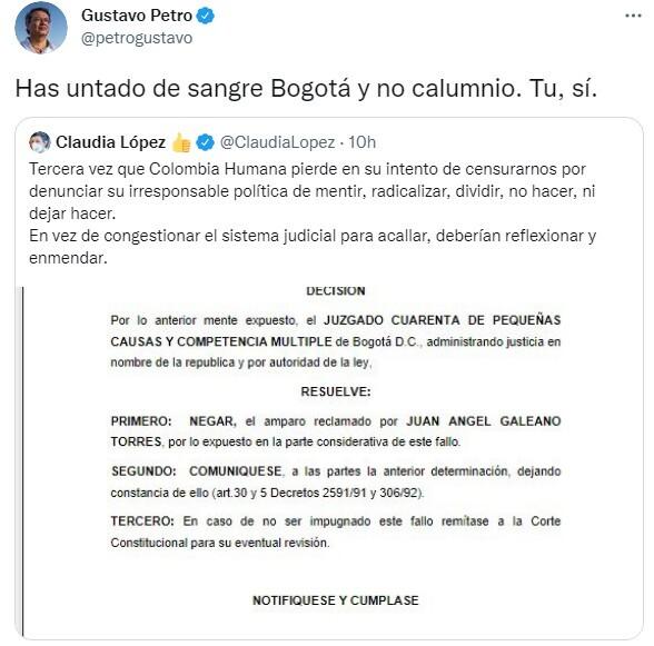 Respuesta de Gustavo Petro a Claudia López