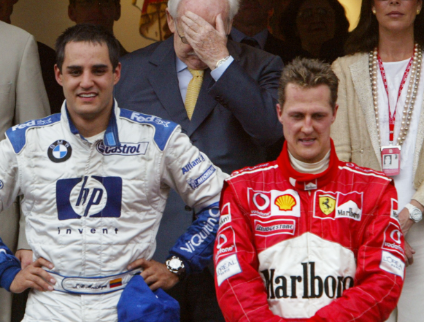 Juan Pablo Montoya y Michael Schumacher en la Fórmula 1.