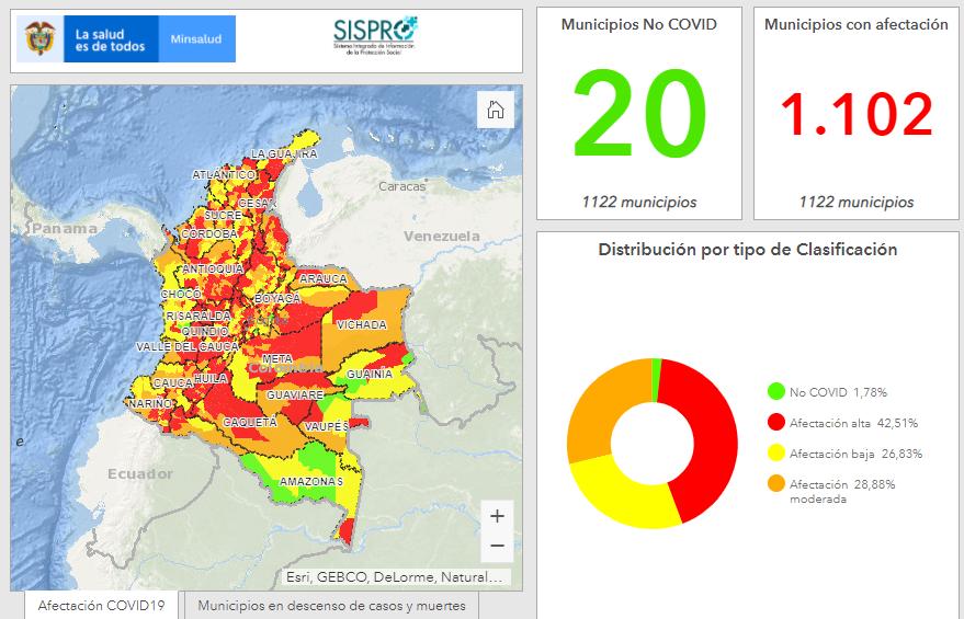 Municipios con COVID en Colombia