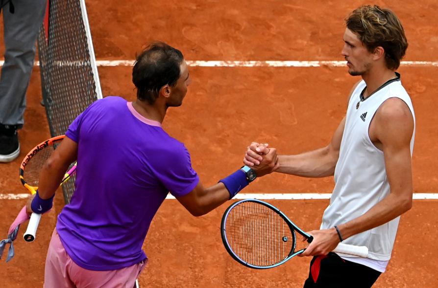 Rafael Nadal y Alexander Zverev se enfrentaron en octavos de final del Masters 1000 de Roma.