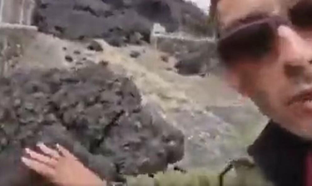 Periodista se quemó la mano en vivo tras tocar piedra del volcán La Palma.