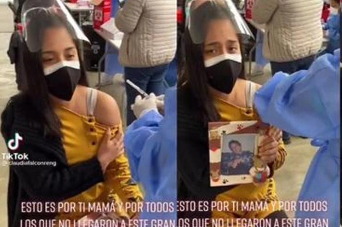 Llora por su mamá mientras se vacuna
