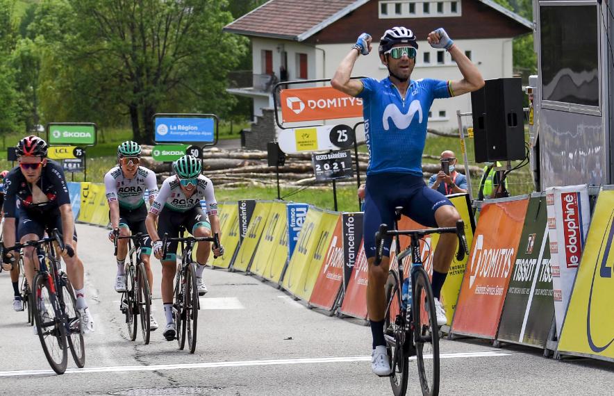 Alejandro Valverde fue el ganador de la etapa 6 del Critérium del Dauphiné.