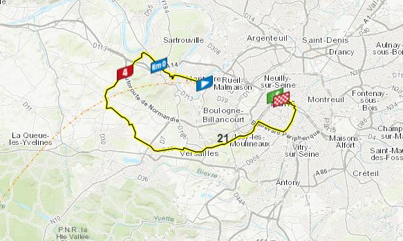 Así será la etapa 21 del Tour de Francia.