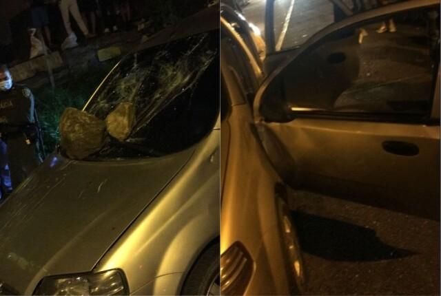 comunidad ataca carro de ladrones a piedra en Medellín.