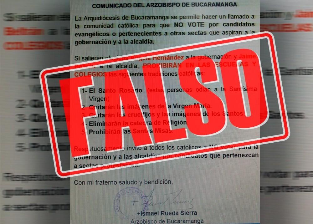 346493_BLU Radio. Carta falsa de la Arquidiócesis de Bucaramanga / Foto. Suministrada