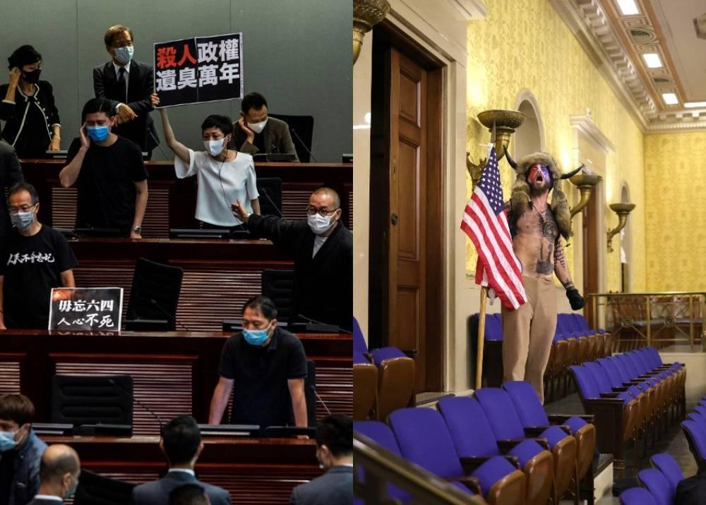 Protestas en el parlamento de Hong Kong - Toma del capitolio en EE.UU.