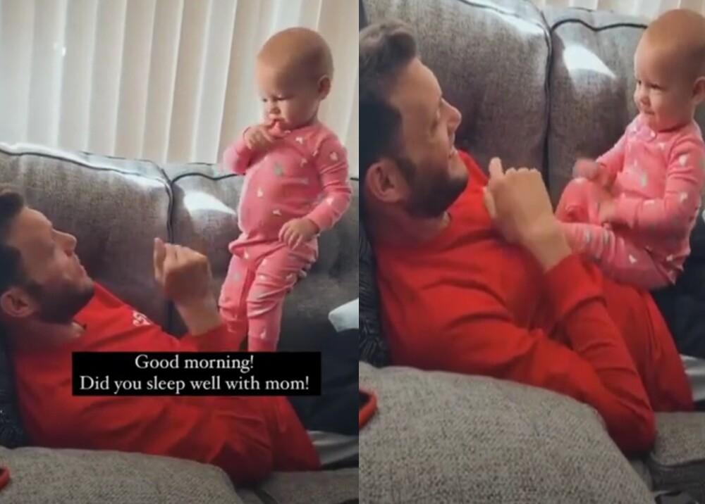 Bebé usa sus manitos para comunicarse con su padre sordo