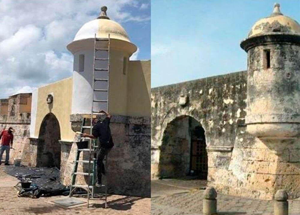 'Chambonada' en sección de las murallas de Cartagena