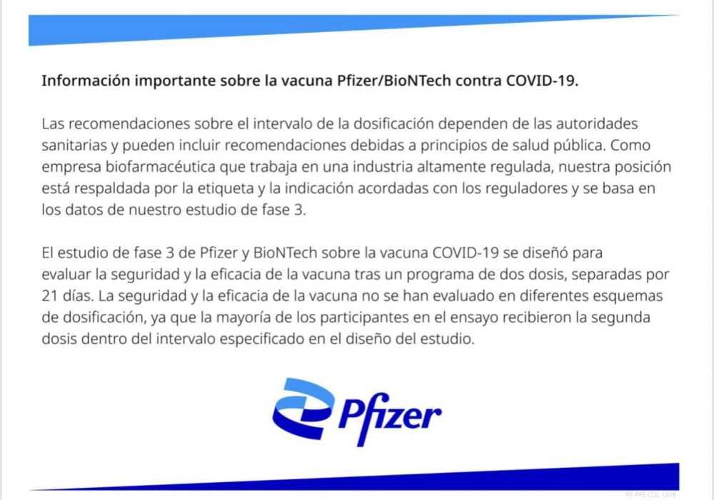Comunicado de Pfizer sobre vacuna COVID-19