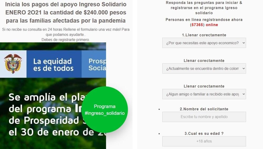 Falsa página Ingreso Solidario