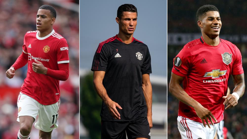 Cristiano Ronaldo, Mason Greewood y Marcus Rashford