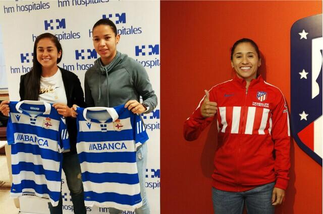 332781_Carolina Arbeláez, Lorena Bedoya (Deportivo de La Coruña) y Carolina Arias (Atlético de Madrid)