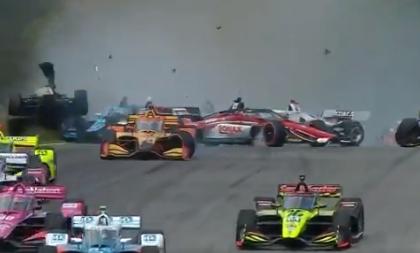 Ryan Hunter-Reay tuvo aparatoso accidente en la IndyCar.