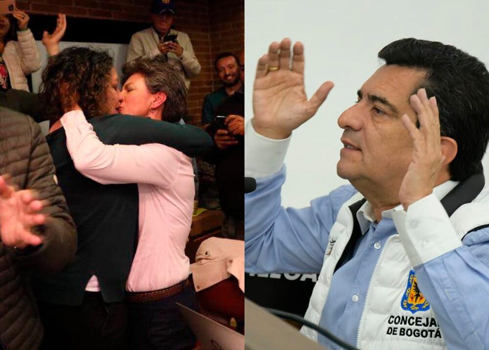 346989_beso entre Angélica Lozano y Claudia López - Marco Fidel Suárez // Fotos: captura video suministrado - Twitter @7MarcoFidelR