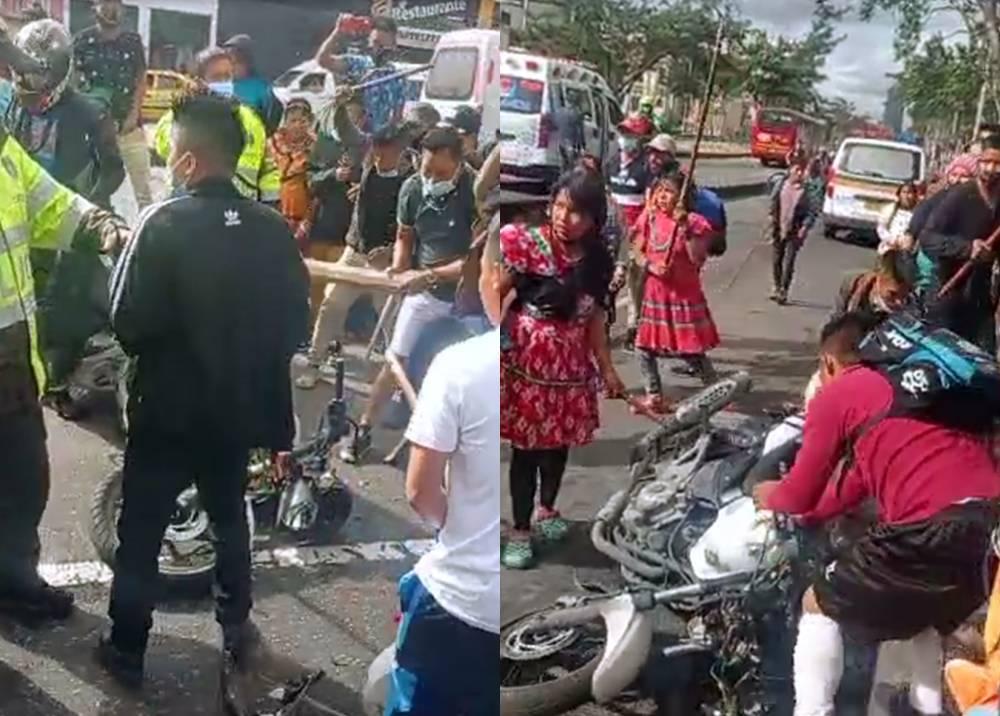 Indígenas embera intentan linchar a motociclista en el centro de Bogotá