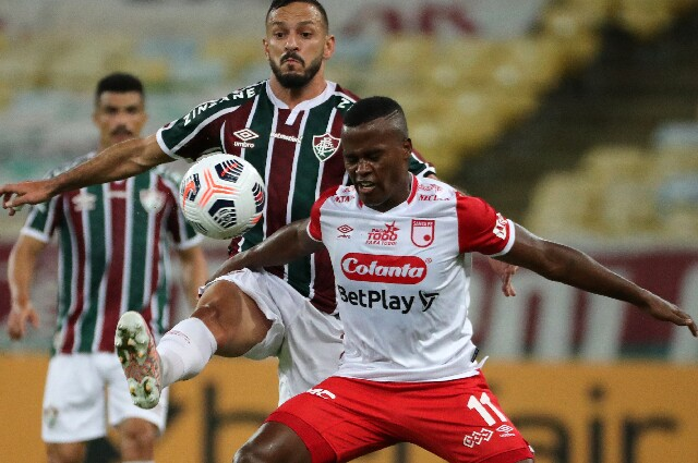 Jhon Arias, en Independiente Santa Fe contra Fluminense