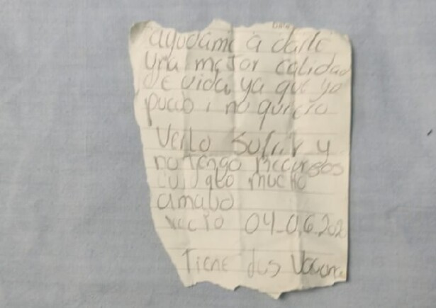 Nota encontrada junto a bebé abandonado