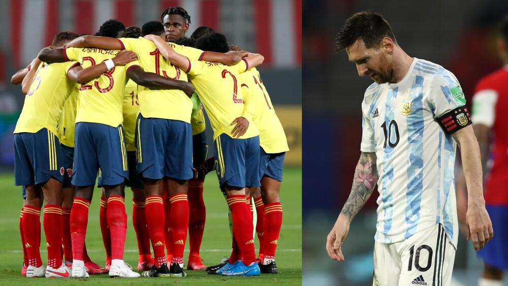 Selección Colombia contra Lionel Messi