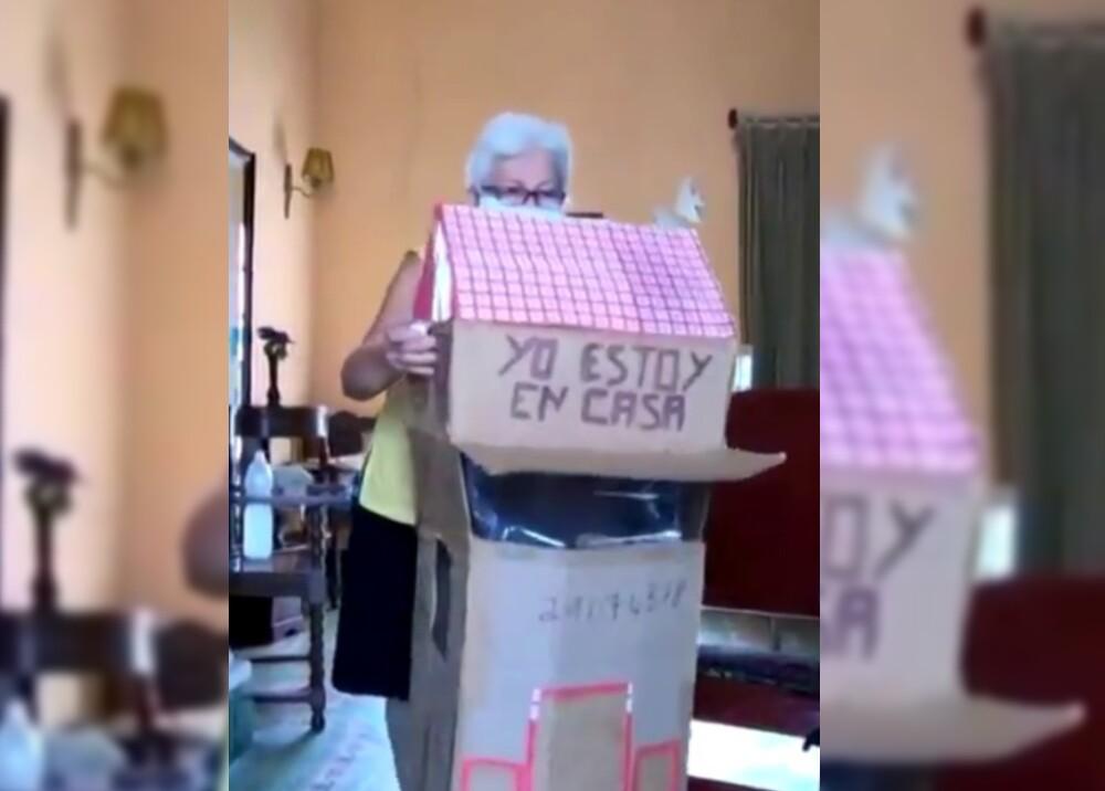 23343_Mujer fabricó casita de cartón para cumplir con las medidas de seguridad // FOTO: Instagram