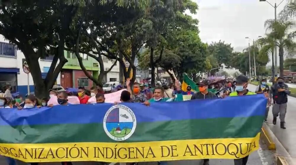 Movilización de la Minga indígena de Antioquia en Medellín.