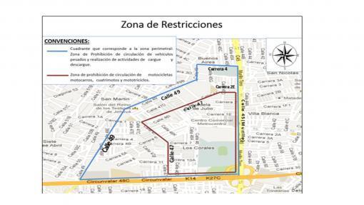 26009_Mapa de restricciones en alrededores del Estadio Metropolitano. Imagen: Secretaria de Movilidad