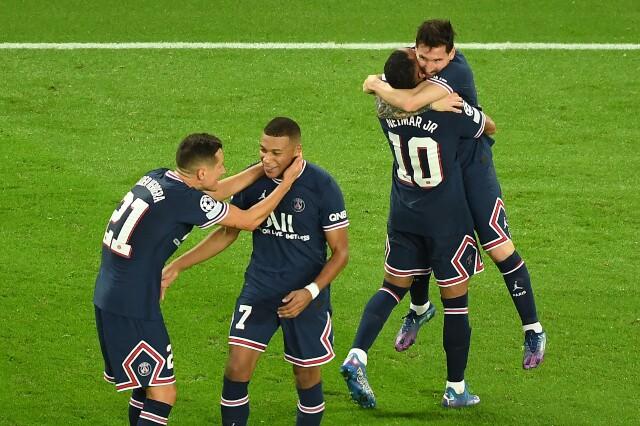 Celebración de PSG tras su victoria sobre Manchester City