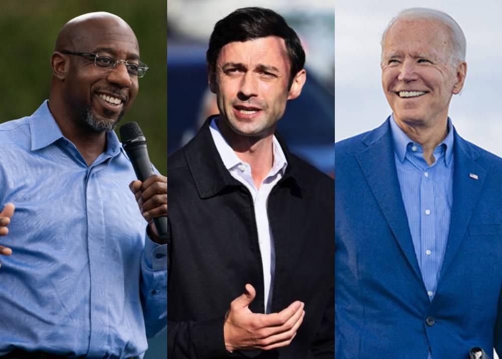 Raphael Warnock, Jon Ossoff y Joe Biden